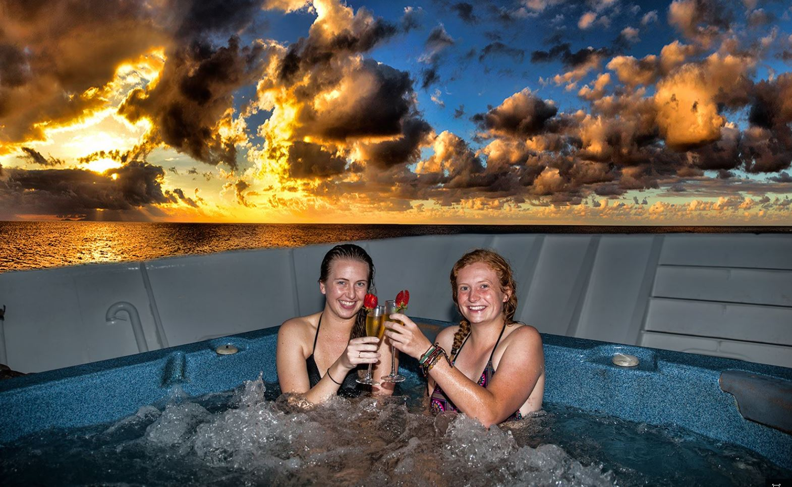 Watch the sunset from hot tub